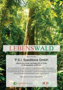 Urkunde Lebenswald.org für P.S.I. Speditions GmbH
