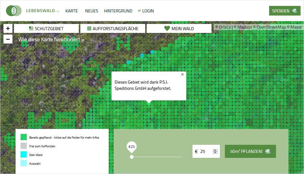 Screenshot der Position des Regenwald-Bereichs, den die P.S.I. Speditions GmbH durch ihre Unterstützung aufforstet